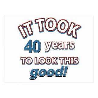 40.os diseños años del cumpleaños postal