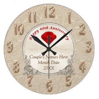 40.os regalos personalizados del aniversario de reloj redondo grande
