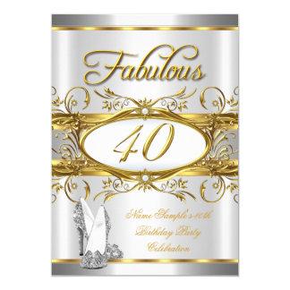 40.os tacones altos fabulosos 40 de la plata del invitación 12,7 x 17,8 cm