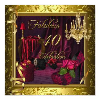 40 rosas rosados rojos fabulosos del oro de la invitación 13,3 cm x 13,3cm