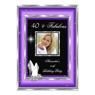 40 tacones altos de plata púrpuras fabulosos de la invitación 12,7 x 17,8 cm