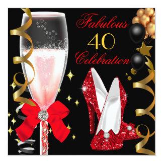 40 y 40.a fiesta de cumpleaños del oro negro rojo invitación 13,3 cm x 13,3cm