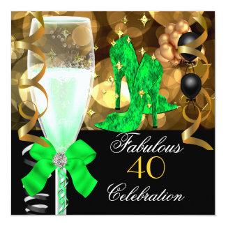 40 y fiesta de cumpleaños fabulosa del oro del invitación 13,3 cm x 13,3cm