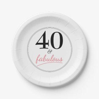 40 y placa de papel fabulosa de la fiesta de plato de papel