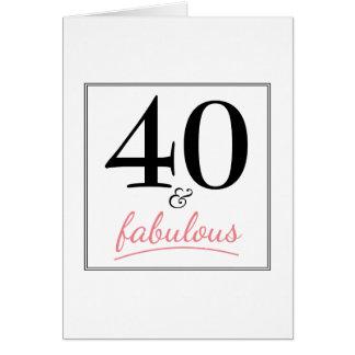 40 y tarjeta rosada y negra del cumpleaños