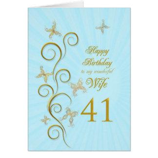 41.o cumpleaños de la esposa con las mariposas de tarjeta de felicitación
