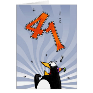 41.o cumpleaños - tarjeta de la sorpresa del pingü