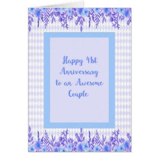 41.o Tarjeta del aniversario en azul con las
