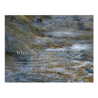 43:2 de Isaías en que usted pasa a través de las Tarjeta Postal