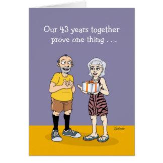 43.o aniversario divertido tarjeta de felicitación