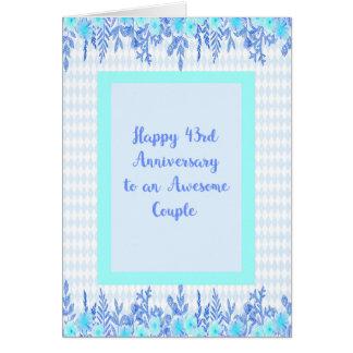 43.o Tarjeta del aniversario en azul y trullo