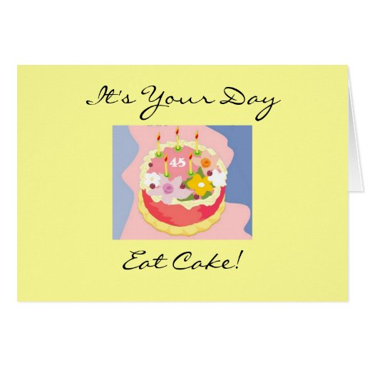 45.a tarjeta de felicitación de la torta del cumpl