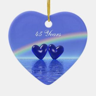 45.o Corazones del zafiro del aniversario Adorno De Cerámica En Forma De Corazón