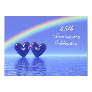 45.o Corazones del zafiro del aniversario Invitación 11,4 X 15,8 Cm