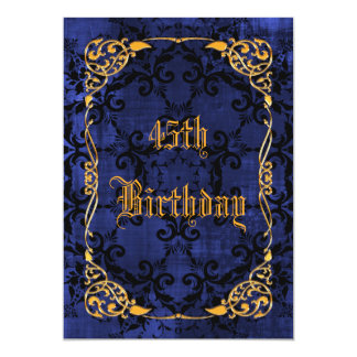 45.o cumpleaños gótico y oro enmarcado azul invitación 12,7 x 17,8 cm