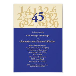45.o Invitación del aniversario de boda del zafiro Invitación 12,7 X 17,8 Cm