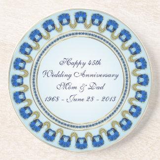45.o Práctico de costa del aniversario de boda Posavasos Personalizados