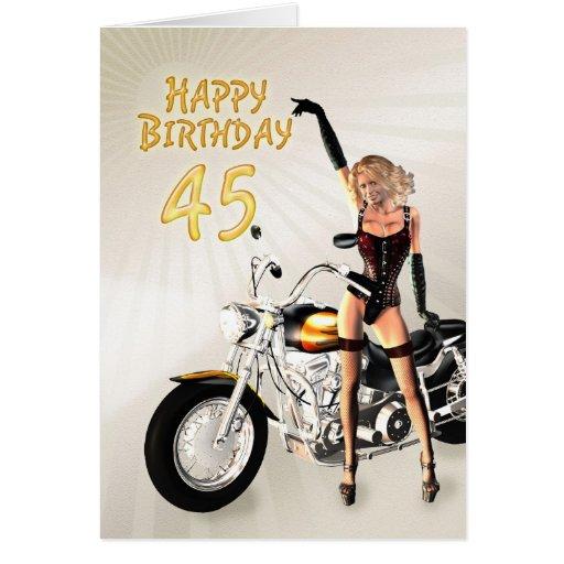 45.o Tarjeta de cumpleaños con un chica de la moto
