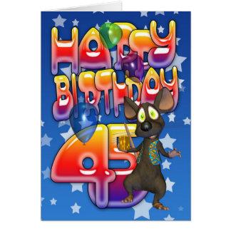 45.o Tarjeta de cumpleaños, feliz cumpleaños