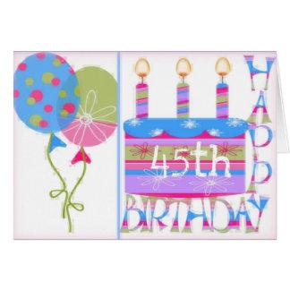 45.o Tarjeta de felicitación del cumpleaños para