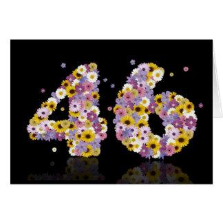 46.a tarjeta de cumpleaños con las letras floridas