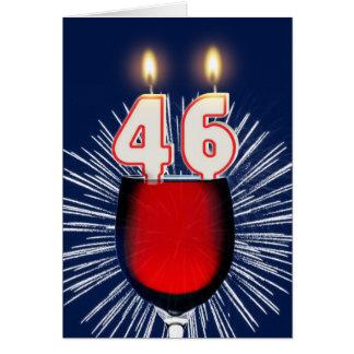 46.o Cumpleaños con el vino y las velas Tarjeta