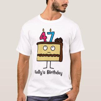47.o Torta de cumpleaños con las velas Camiseta