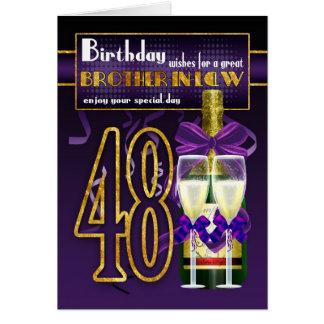 48.a tarjeta de cumpleaños del cuñado - púrpura y