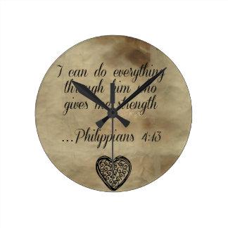 4:13 de los filipenses del verso de la biblia reloj redondo mediano