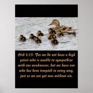 4:15 de Heb de la escritura del cristianismo Póster