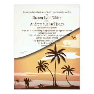 """4,25"""" x 5,5"""" boda hawaiano de la palmera de la invitación 10,8 x 13,9 cm"""