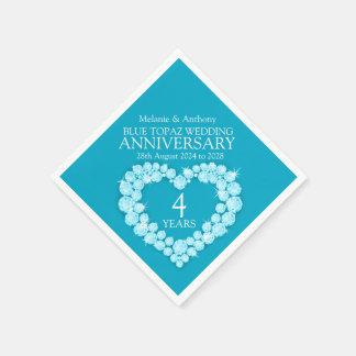 4 años del aniversario del topaz del corazón de servilletas desechables