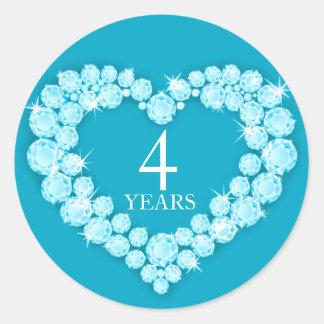 4 años del topaz del aniversario de pegatina azul