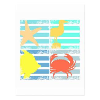 4 cuadrados del diseño del océano postal