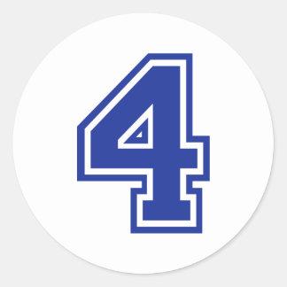 4 - cuatro etiqueta redonda