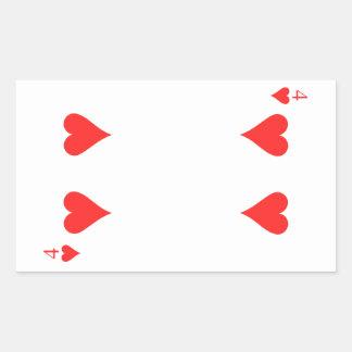 4 de corazones pegatina rectangular