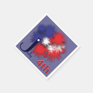 4 de julio bandera hinchada servilleta desechable