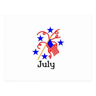 4 de julio bandera postal