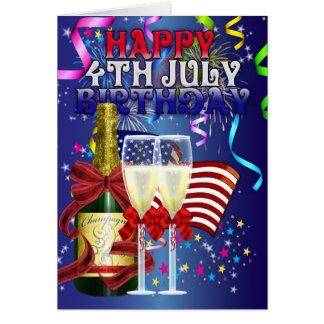 4 de julio cumpleaños - cumpleaños en el cuarto de tarjeta de felicitación
