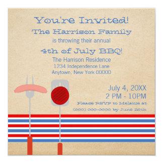 4 de julio el asado a la parilla rayado del Bbq Invitación 13,3 Cm X 13,3cm