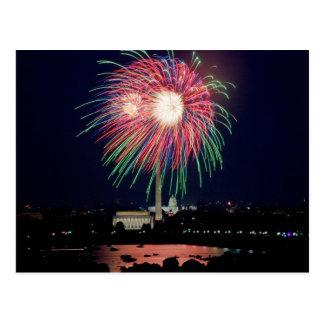 4 de julio fuegos artificiales, postal del