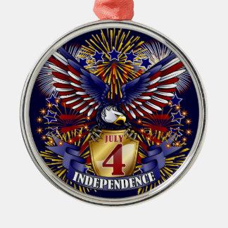 4 de julio ornamento de la independencia adorno redondo plateado