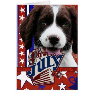 4 de julio petardo - perro de aguas de saltador tarjeta de felicitación