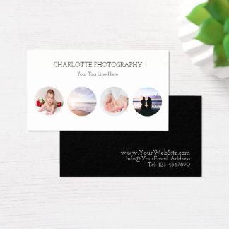 4 fotografías blancos y negros modernas tarjeta de visita