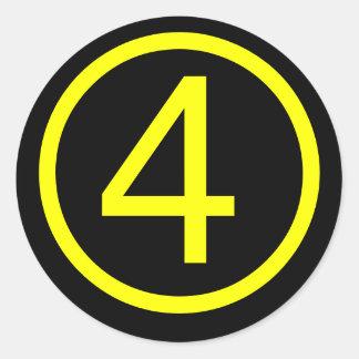 4 - número cuatro pegatina