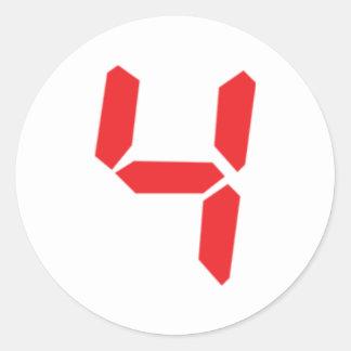 4 número digital del despertador de cuatro rojos pegatina