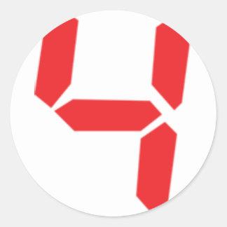 4 número digital del despertador de cuatro rojos etiquetas redondas