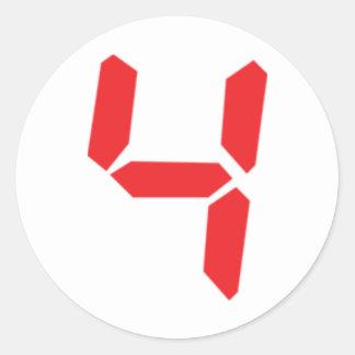 4 número digital del despertador de cuatro rojos pegatina redonda