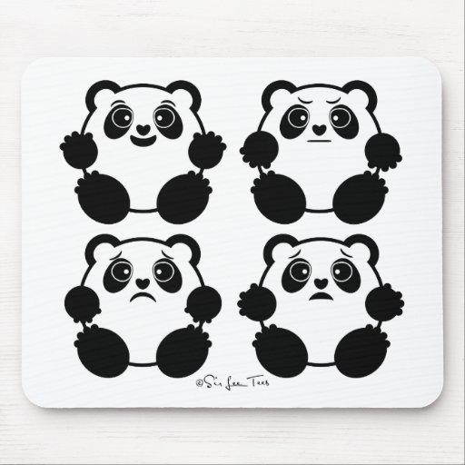 4 pandas emocionales alfombrilla de ratón