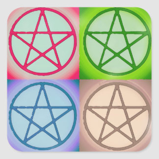 4 pentagrams pegatina cuadrada
